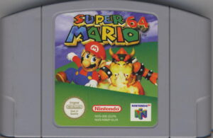 Ein N64 Modul (Cartridge) mit Super Mario 64 drauf.